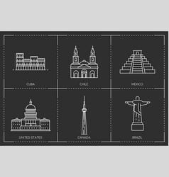 American landmarks line style vector