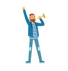 Bearded football fan character in blue standing vector