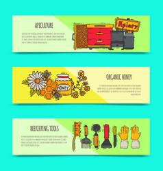 beekeeping set banners apiary vector image