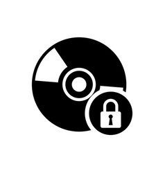 Black cd or dvd disk with closed padlock icon vector