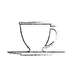 blurred silhouette dish porcelain with cup vector image