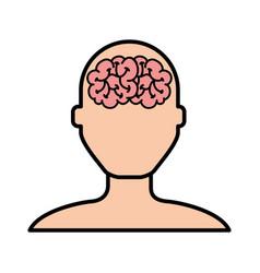 Brain faceless man cartoon vector