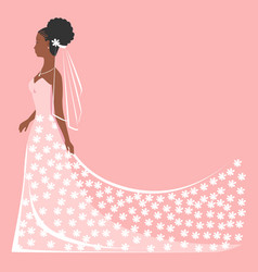 Bride in lace dress vector