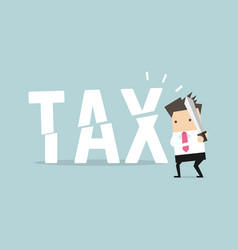 businessman cut tax with sword business concept vector image