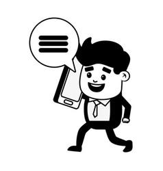 businessman mobile talking vector image