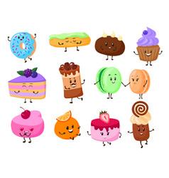 cake dessert cartoon characters vector image