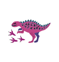 card template with cute dino hand drawn vector image