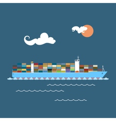 Cargo Container Ship at Sea vector