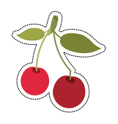cartoon cherry berry nutrition icon vector image