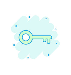 cartoon colored key icon in comic style unlock vector image