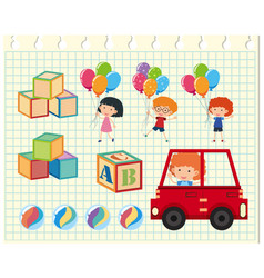 Children and different toys vector