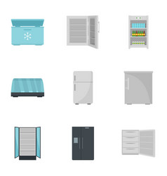 commercial fridge icon set flat style vector image