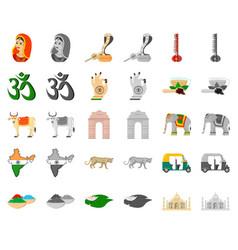Country india cartoonmonochrom icons in set vector