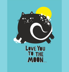 Cute cat poster in baroom art for vector