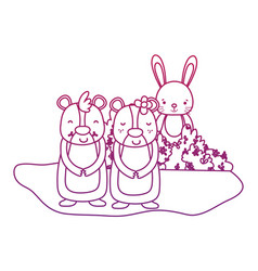 degraded outline nice bear couple with rabbit in vector image