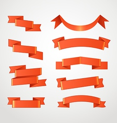Different retro style red ribbons set vector image