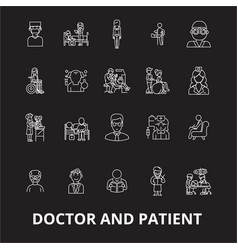 doctor and patient editable line icons set vector image