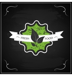 Eco chalk lettering label of organic natural fresh vector