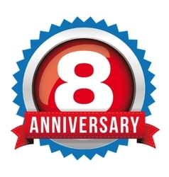 Eight years anniversary badge with red ribbon vector image