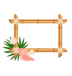 Empty bamboo frame with botanical elements flat vector
