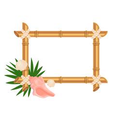 empty bamboo frame with botanical elements flat vector image