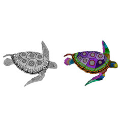Entangle stylized color and black turtle hand vector