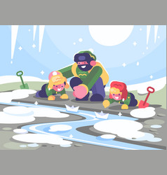 father with children launches paper boats vector image