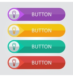 flat buttons with lamp icon vector image
