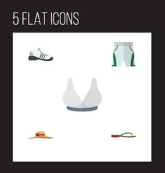 Flat icon dress set of sneakers elegant headgear vector