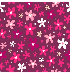 Floral seamless pattern on purple background vector image