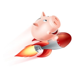 Flying rocket piggy bank vector