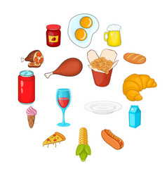 food icons set in cartoon style vector image