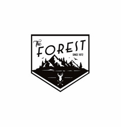 Forest mountain adventure deer hunter logo vector