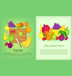 Fruits banner set cartoon style vector