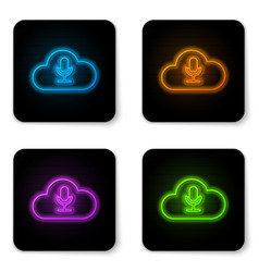 glowing neon cloud icon isolated on white vector image