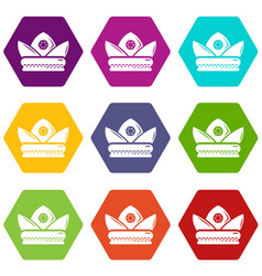 gold crown icons set 9 vector image