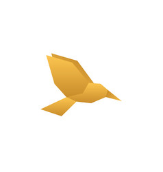 golden low poly flying bird design vector image