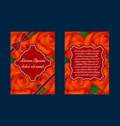 greeting card with red roses vector image