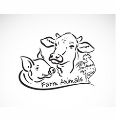 Group animal farm label cow pig chicken logo vector