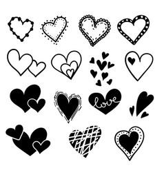 hand drawn hearts set isolated design elements vector image