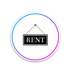 hanging sign with text rent icon isolated on white vector image