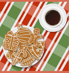 holiday gingerbread cookies in plate with coffee vector image