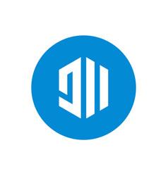 initial letter jii circle logo creative geometric vector image