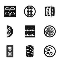 Japan food icons set simple style vector