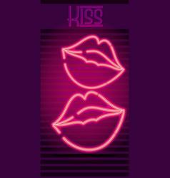 Kiss neon sign vector