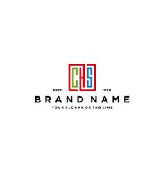 Letter chs square colorful logo design vector
