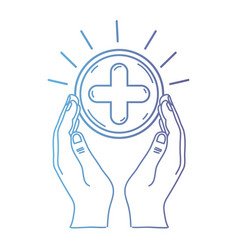 line hands with cross medicine symbol to help the vector image