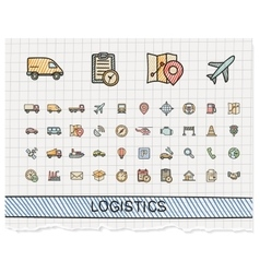 Logistic hand drawing line icons doodle vector