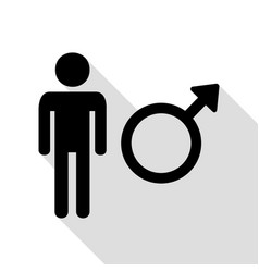male sign black icon with flat style vector image
