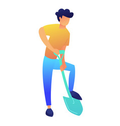 man digging the ground with shovel vector image